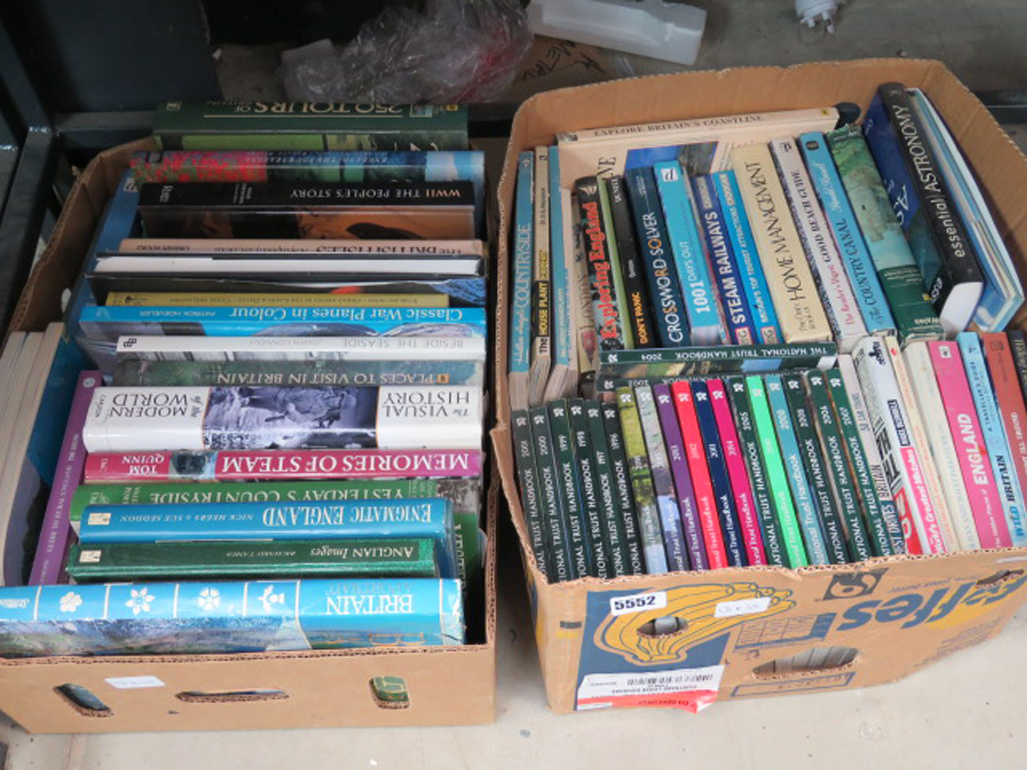 2 boxes containing National Trust hand books, hand management books, military and other reference