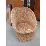 Wicker work tub chair