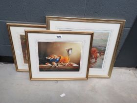 2 Arthur Elsley prints - Children with Dog and Pony plus still life nuts and wine goblets