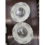 Pair of Wedgwood American theme plates - the Public Goal and Bruton Parish Church