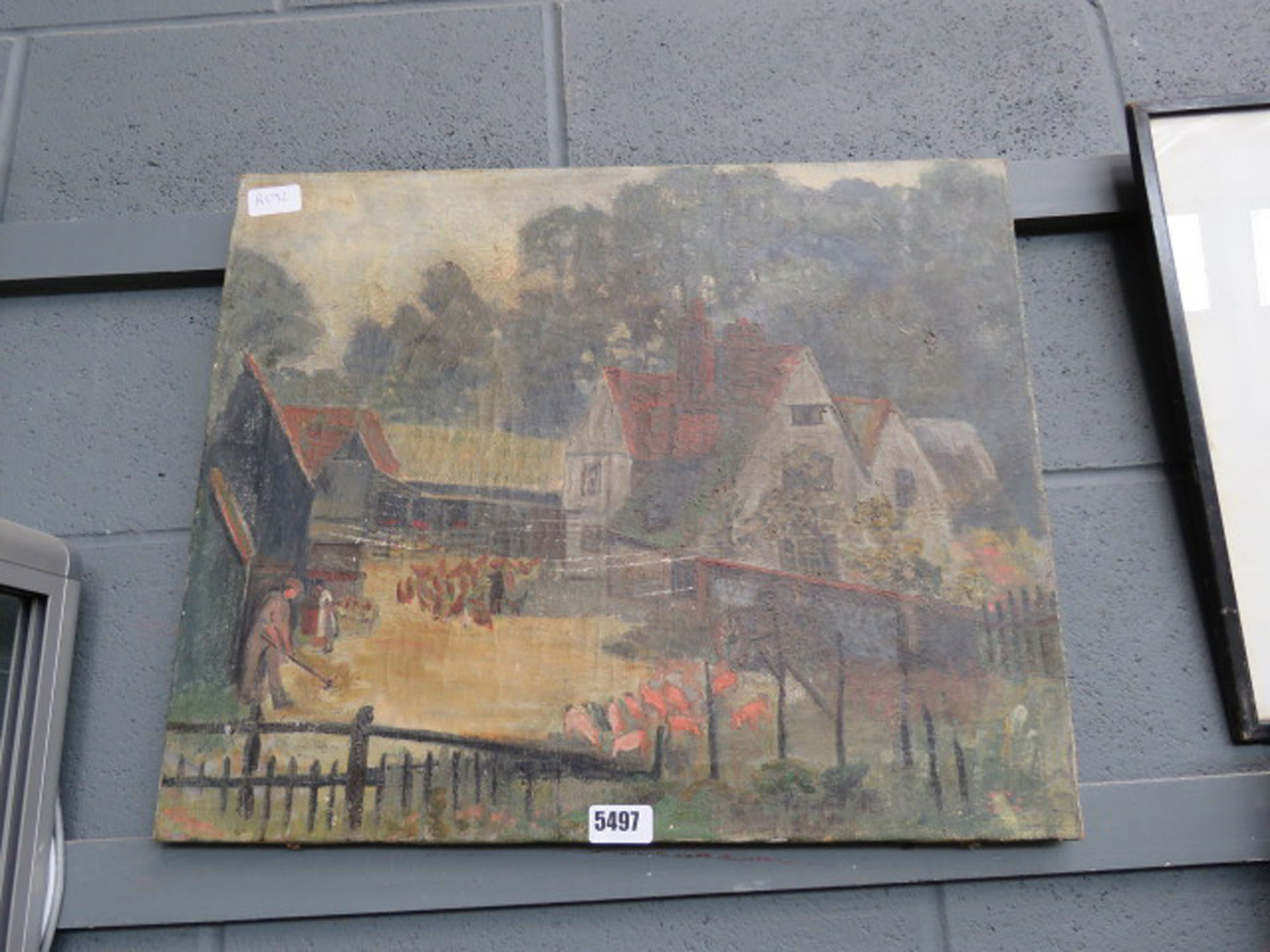 Naive oil on canvas farmyard with pigs and chickens