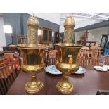 Pair of brass plant pots with Middle Eastern trays and vases