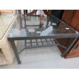 metal 2 tier lamp table with glazed insert