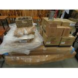 Pallet of furniture parts, gold finished trays, seagrass baskets and pewter ale mugs