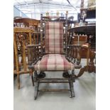 Turned beech rocking chair with tartan seat and backrest