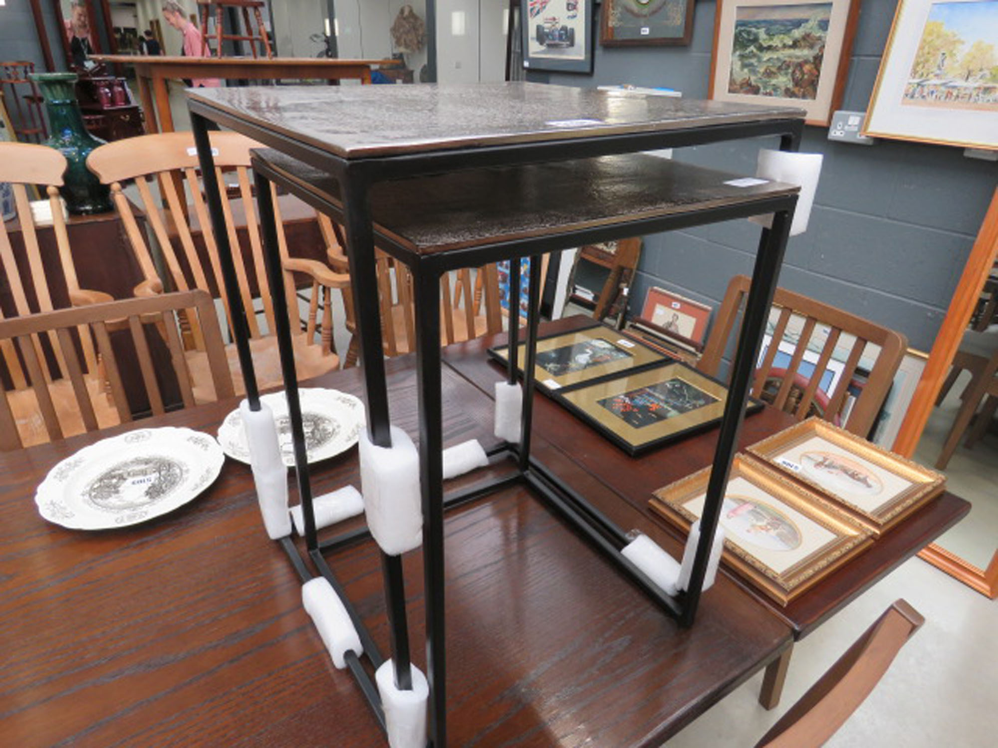 Nest of 2 silver painted and metal tables