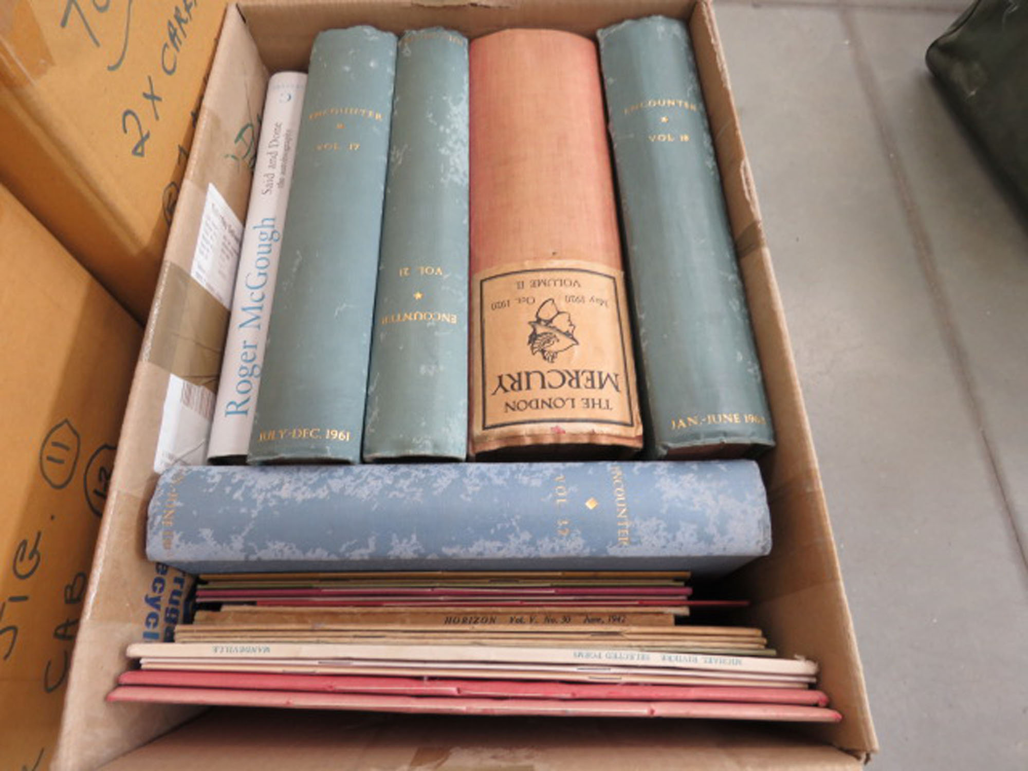 Box containing horizon magazines plus volume 2 of The London Mercury and Biography