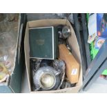 Box containing loose fish knives and forks, silver plates teapots, and dishes