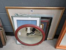Oval bevelled mirror, photographic print of a tree, house interior, David Green print plus seascape