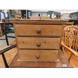 Pine three drawer cabinet