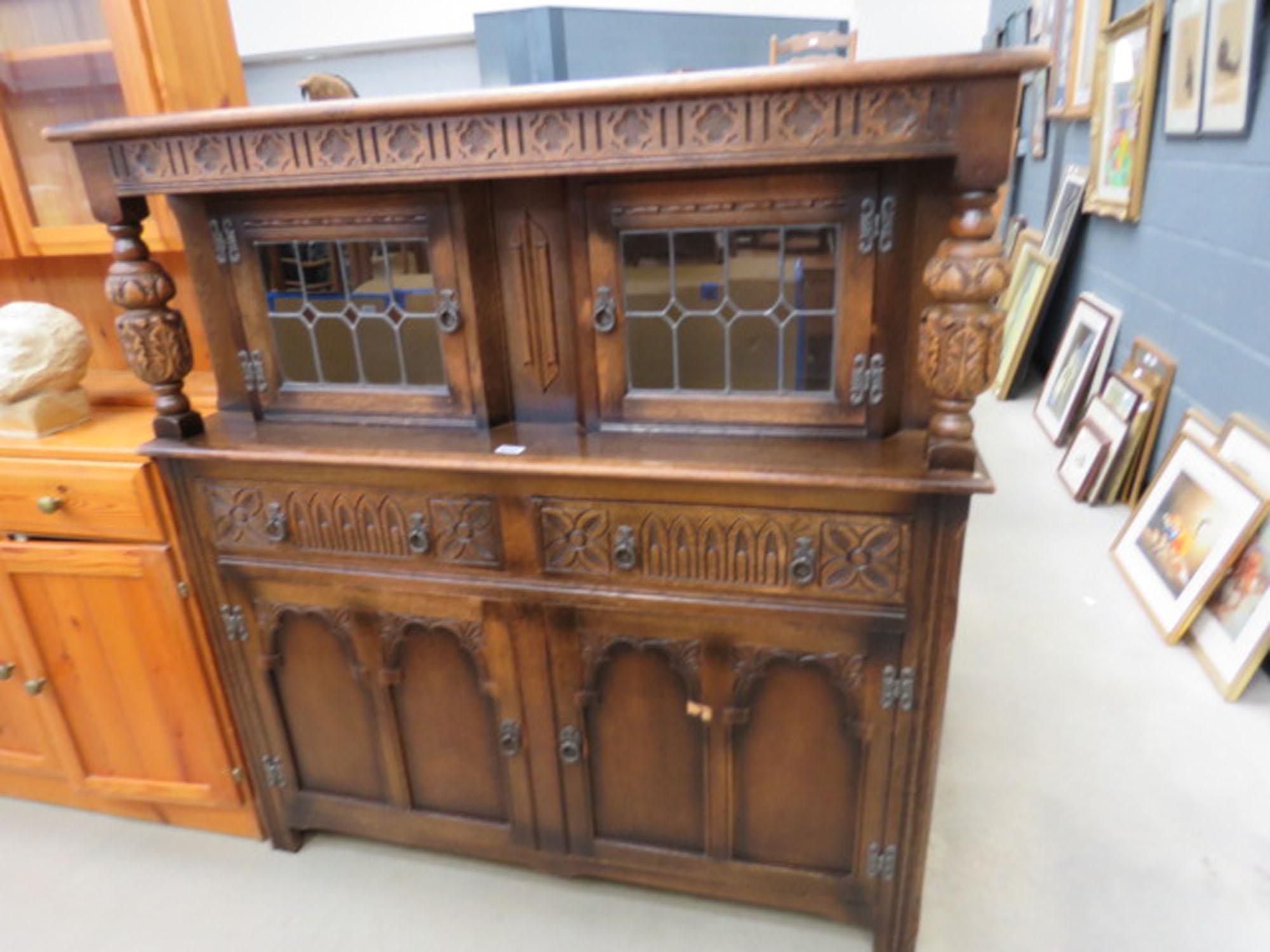 Dark oak court cupboard