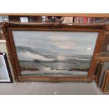 Oil on canvas of a coastal scene