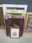 Quantity of prints inc. ships at sea, mother and child, The Millhouse, Highland scenes plus