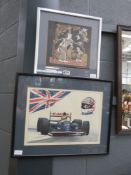 5021 Nigel Mansell print plus South East Asian print on silk