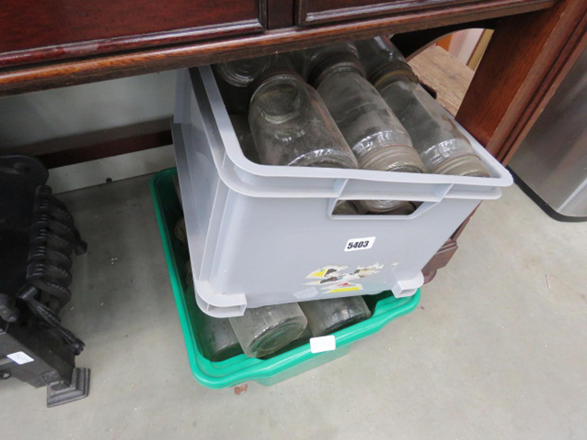 2 boxes containing kilner jars