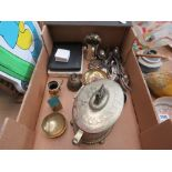 Box containing silver plated and glass lidded bowl, loose cutlery, cutlery sets and brassware