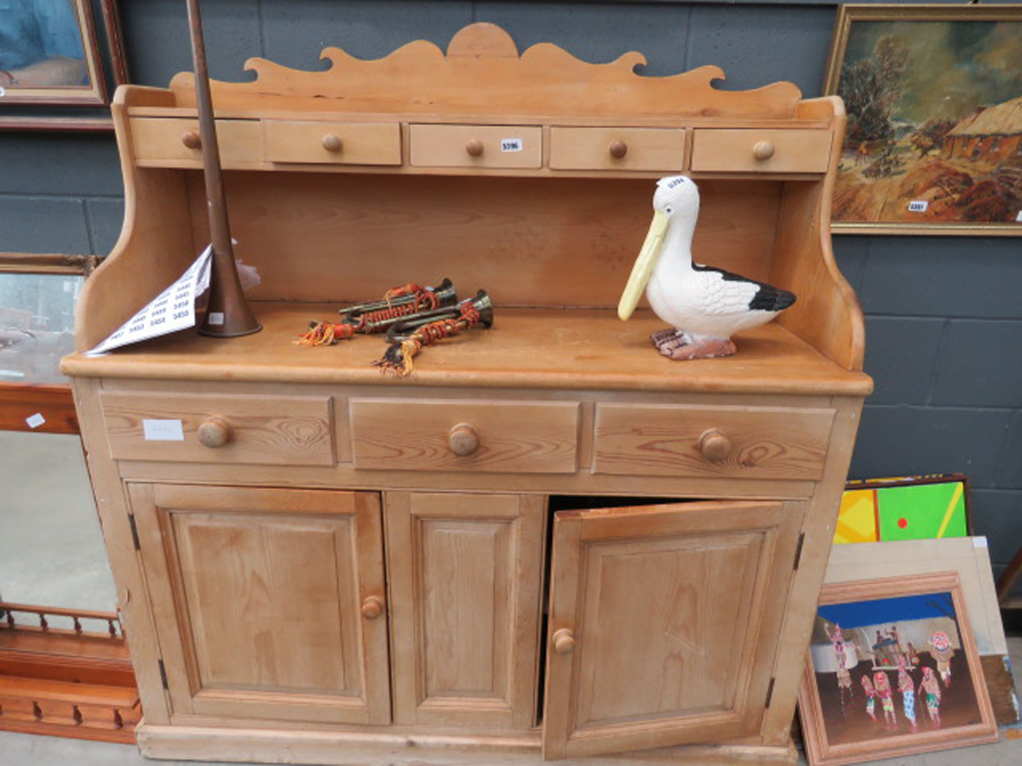 Pine sideboard with gallery