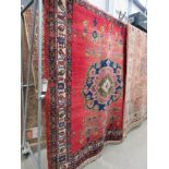 (1) Red floral carpet with central medallion