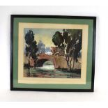 323 (4/6) G.. D.. Paul Raj (Indian 1914-1979),Cattle crossing a river bridge,signed, gouache on