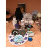 Quantity of oriental ginger jars, Cloisonne dishes, satsuma vases, and general oriental ware