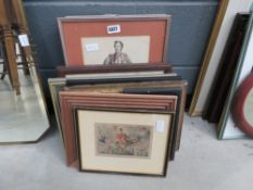 Comical print with Huntsman, print of ships, painting of derelict castle, study of a nobleman,