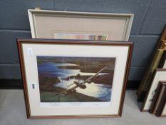 Print of The Dambuster Beaking the Mohn Dam plus David Green watercolour of Wyboston