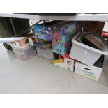 5 boxes containing large quantity of kids toys, garages, gladiators game, plus Eddie Stobart related