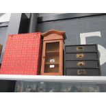 Fabric covered Oriental box, 3 drawer miniature filing cabinet and mesh fronted spice rack