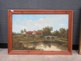 Modern oil on canvas of river bridge and cottages