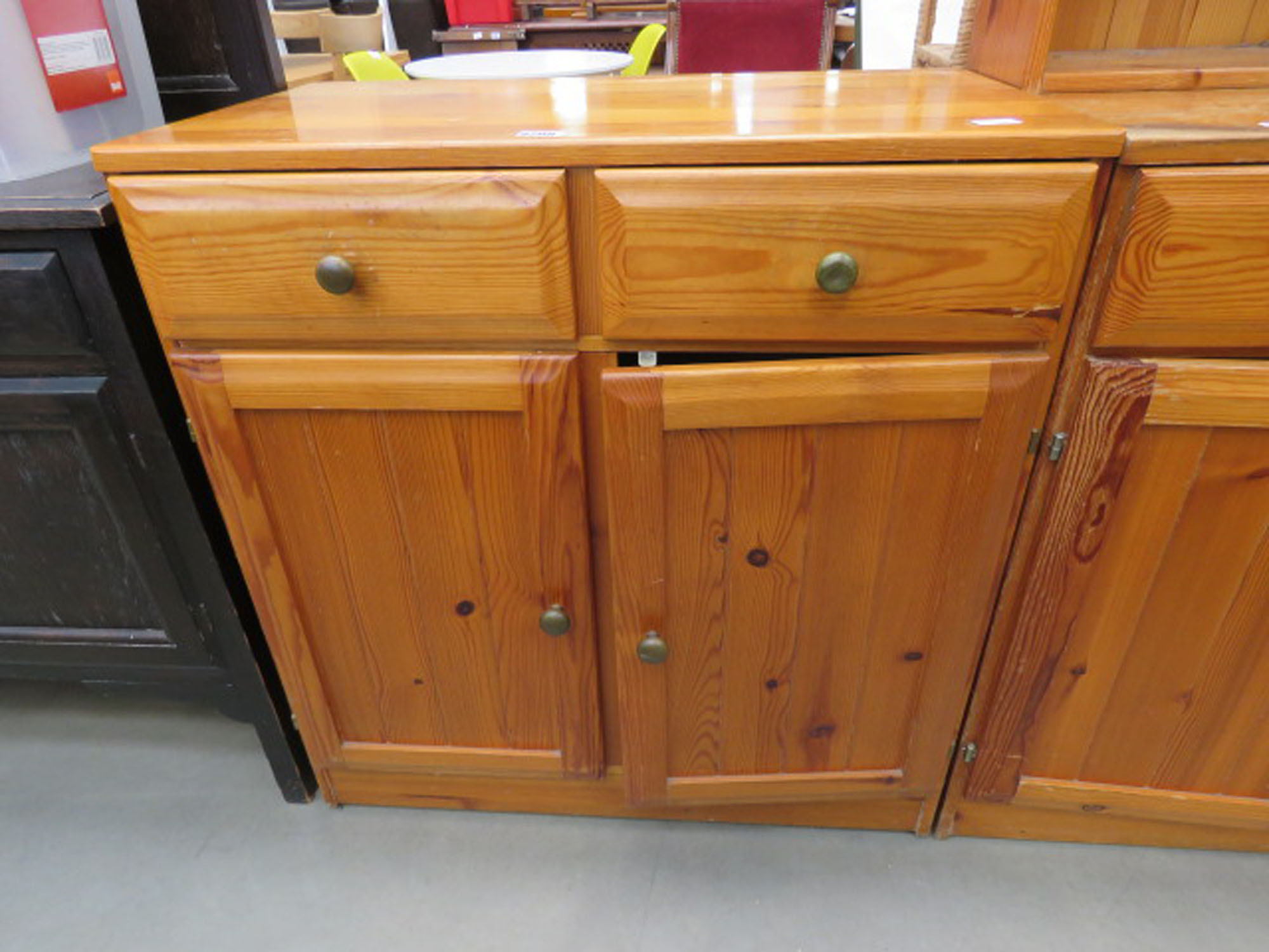 Pine sideboard two drawers two doors under