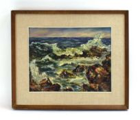 324 (4/6) English School, 20th century,Waves on a rocky shoreline,unsigned,oil on canvas,26.5 x 24