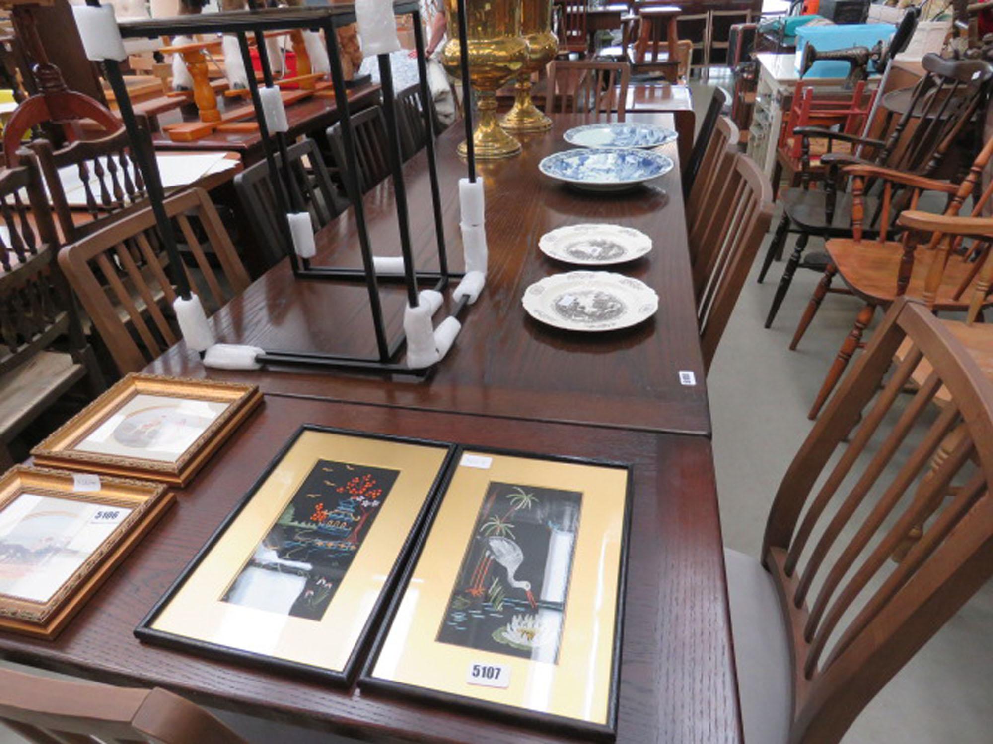 Dark oak drawerleaf table plus 10 chairs - Image 2 of 2