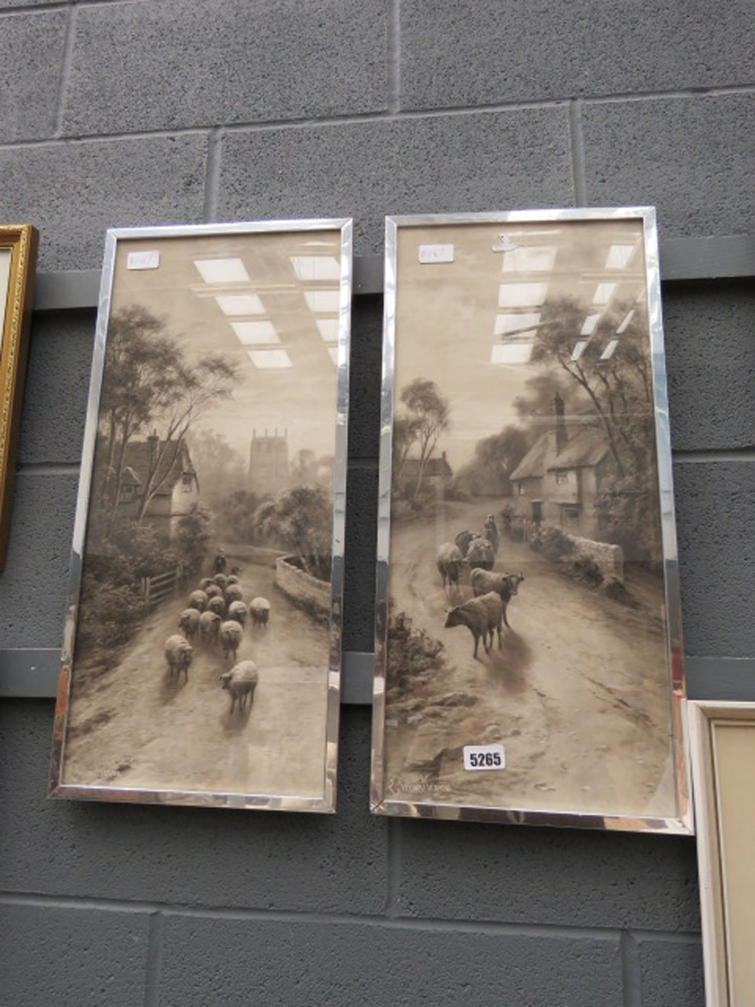 Pair of prints of cattle and sheep in village lane