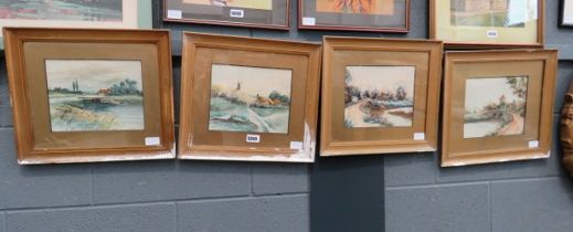 4 framed and glazed watercolours of country scenes with cottages, bridge and river signed 1921 H.