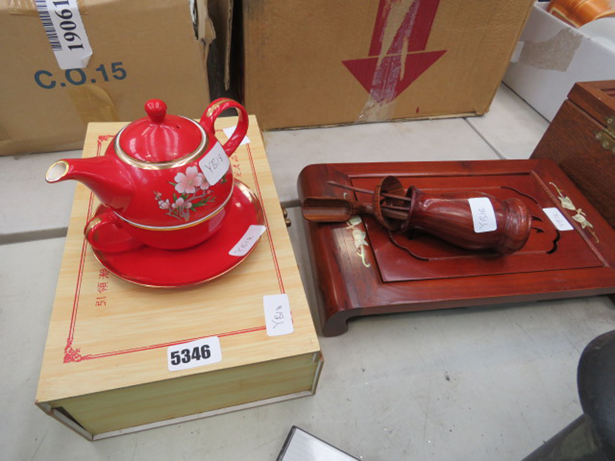 Modern Oriental part tea service plus a wooden serving tray and utensils