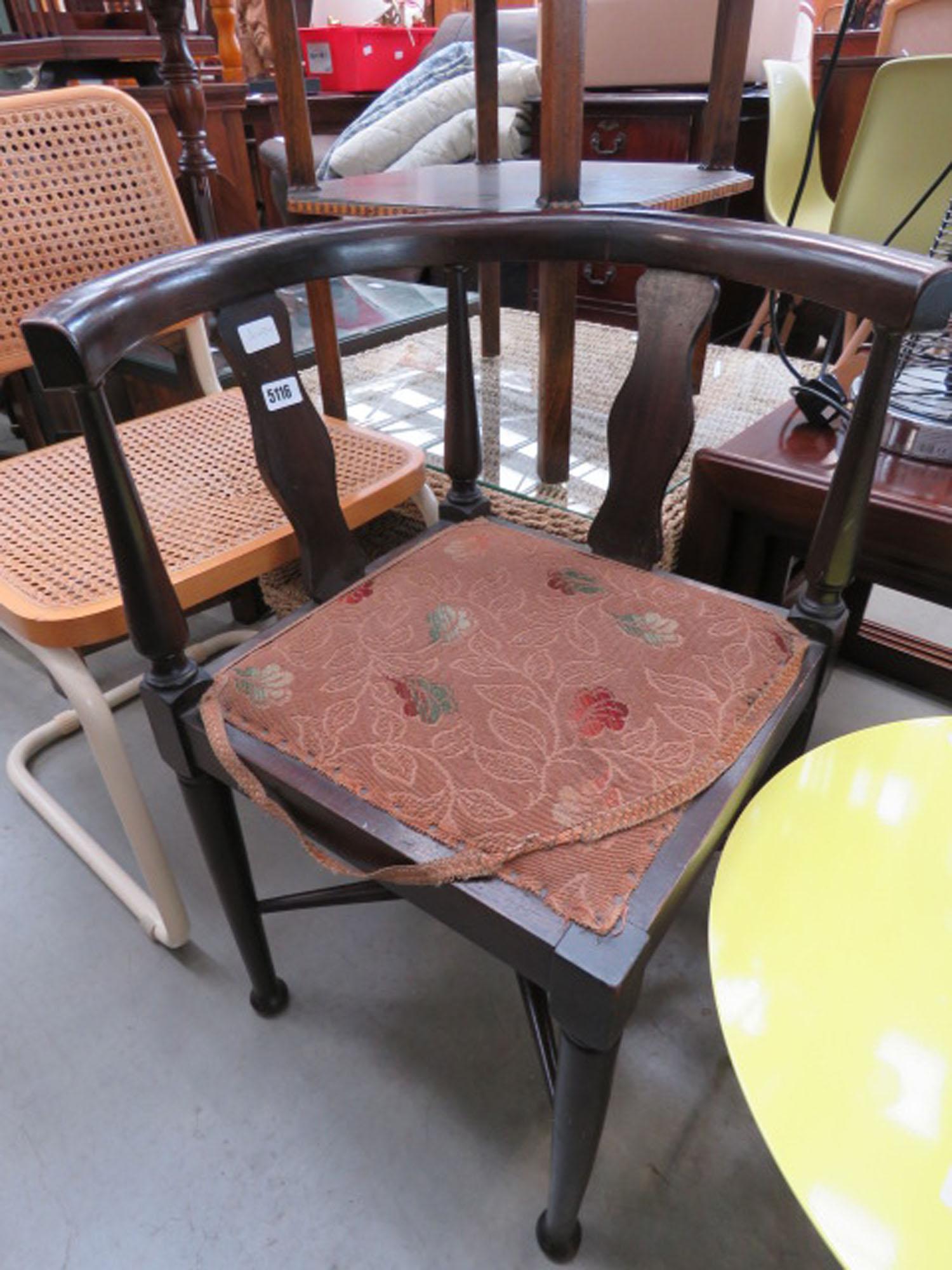 Edwardian floral upholstered corner chair