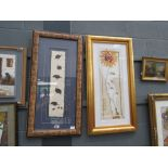 5081 Collage with guinea fowl feathers plus floral print by Tanya De Witt