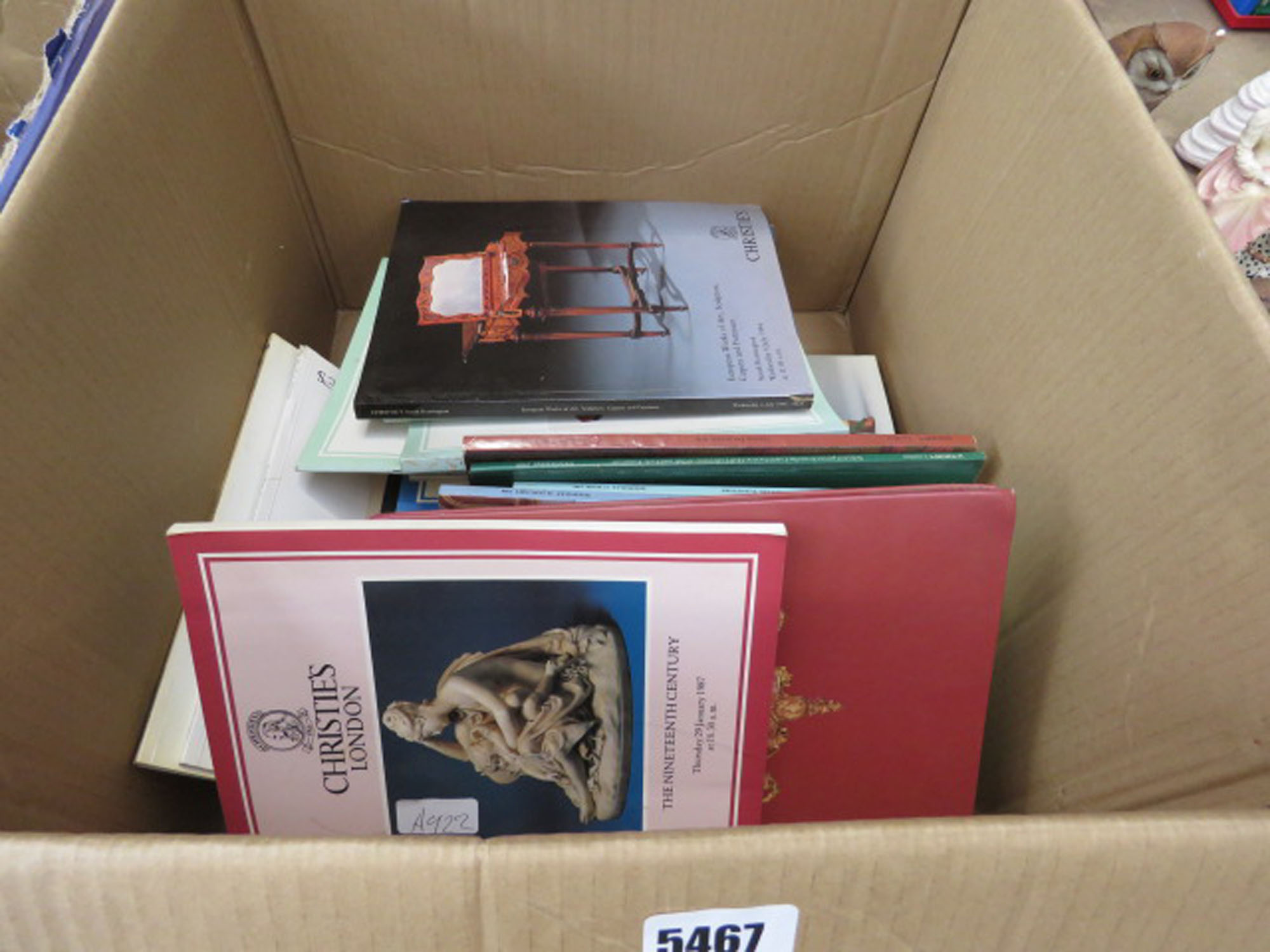 Box containing Christie's and other auction catalogues