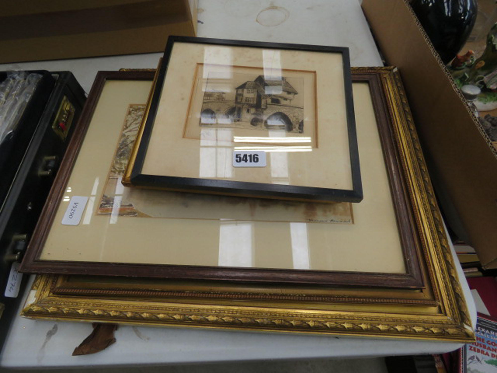 Quantity of paintings and prints incl. Bedford bridge, country cottages, river with trees etc.