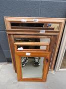 4 rectangular mirrors in natural wood frames