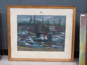 Pastel drawing of boats in harbour