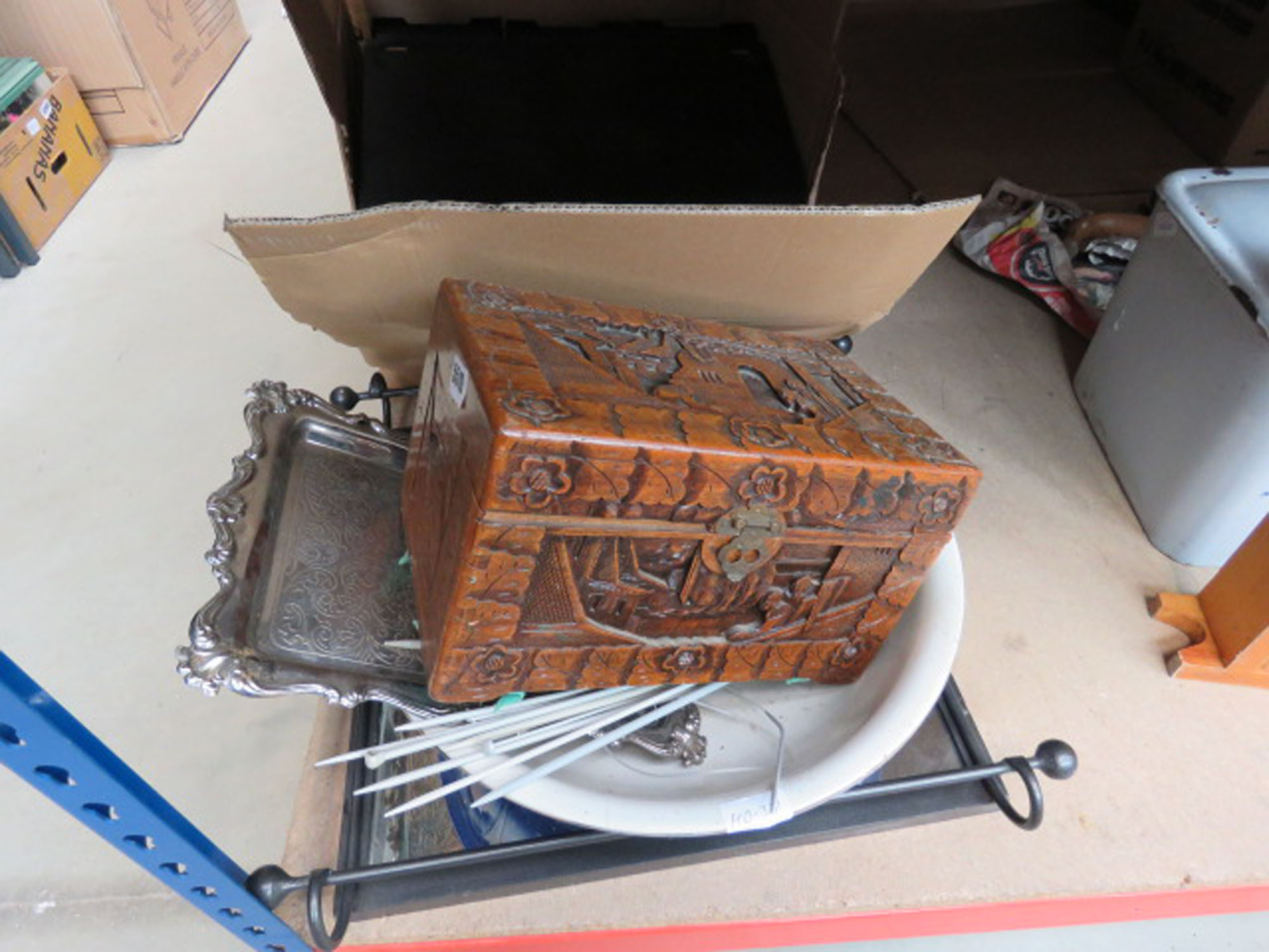 Box containing CD's and books plus wash stand bowl, carved oriental box, silver plates tray,