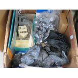 Two boxes containing King Kong figure, railway track scenery, stainless steel clips, purses and bags