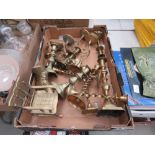 Box containing quantity of glassware incl. candlesticks, ornamental boot, rocking chair ornament and
