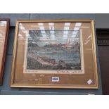 Framed and glazed hand coloured prints of Bedford bridge
