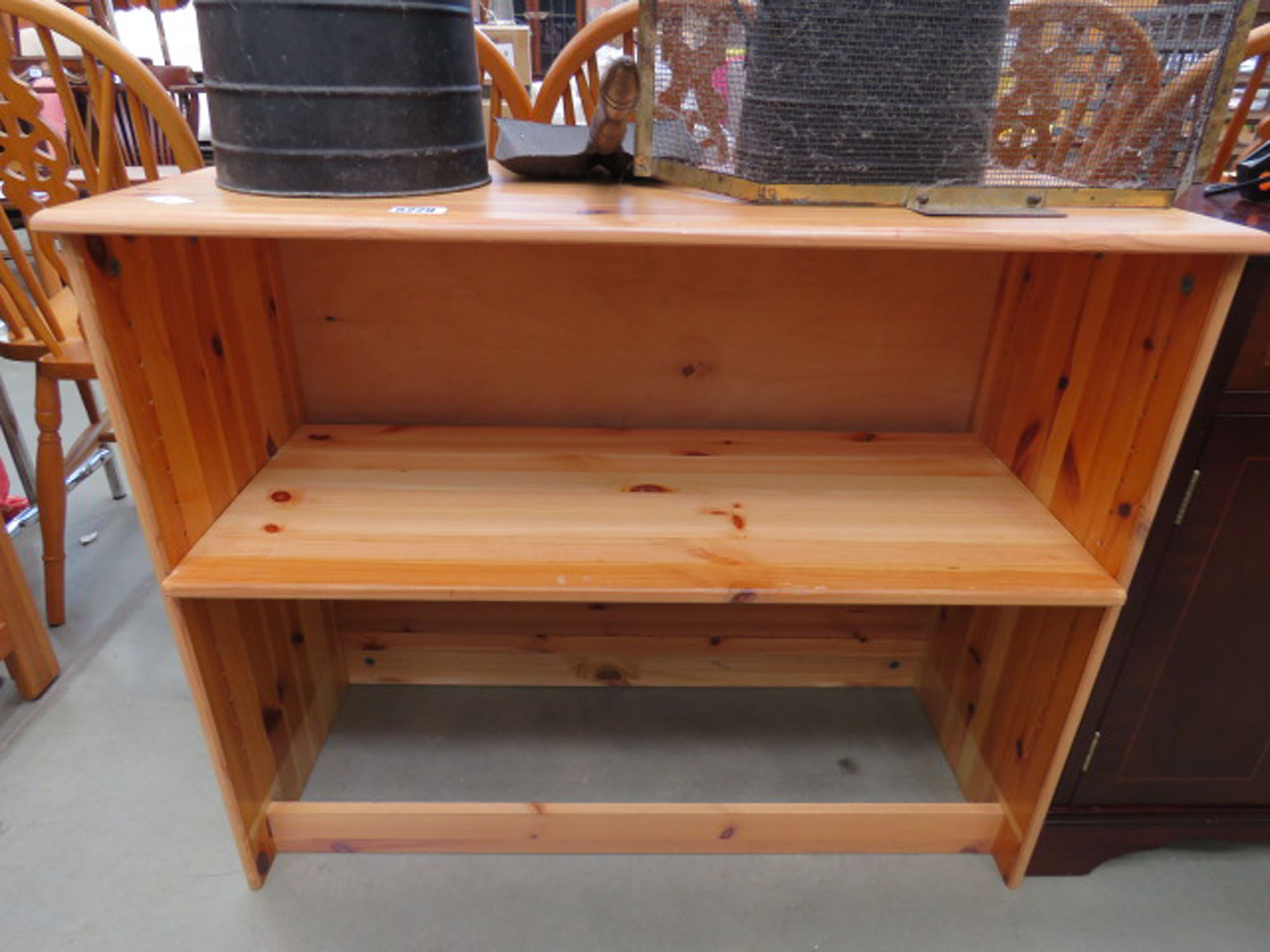 Pine open-fronted bookcase
