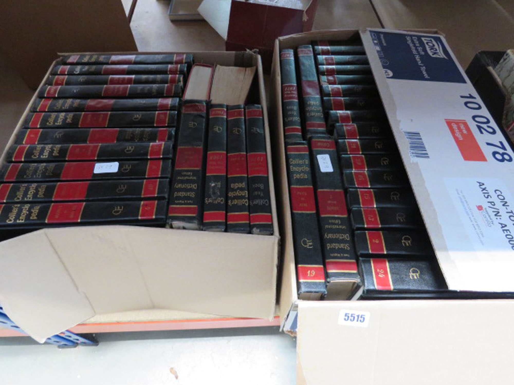 2 boxes containing Colliers encyclopedia