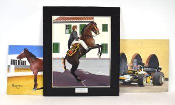 310 (4/6) Sydney Benford,'San Lorenzo Alayor',signed,stylised oil on board, 50 x 40 cm together with