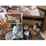 4 boxes containing beer steins, ornamental cat, household goods, prints, table lamps, Bart Simpson