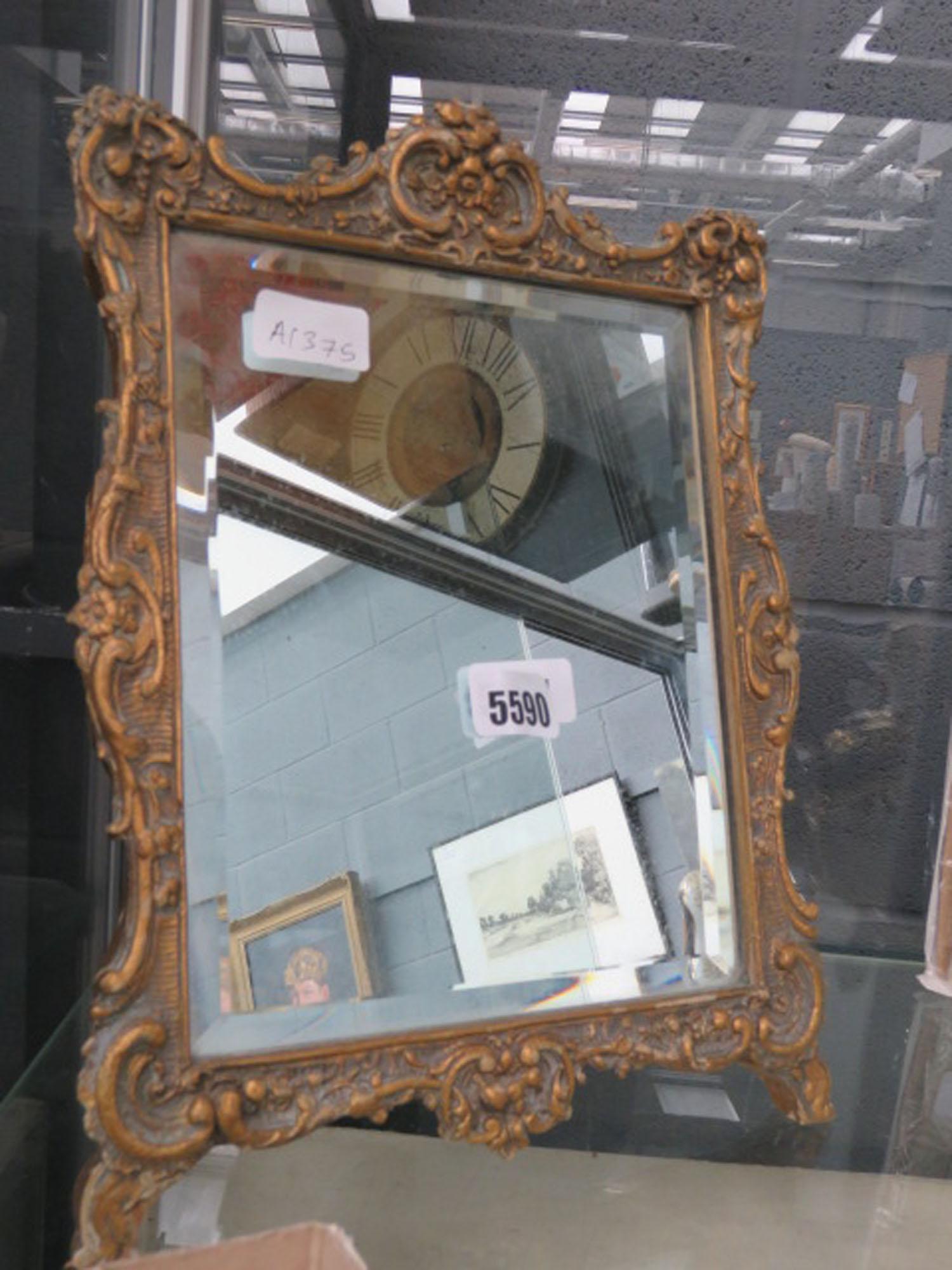 Rectangular bevelled mirror with ornate resin frame